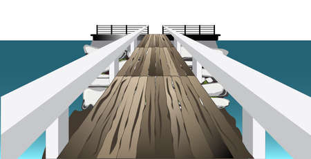 A footbridge or landing crossing to a stone island  Illustration