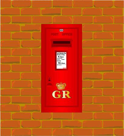 pillar box: A wall mounted post box set into an old brick wall  Illustration