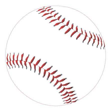 흰색에 고립 된 빨간 스티치와 새로운 흰색 야구