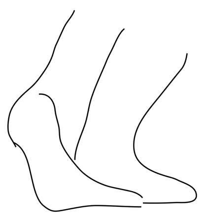 perişan: Beyaz bir arka plan üzerinde bir kız ayak ve siyah anahat ayak bilekleri Çizim