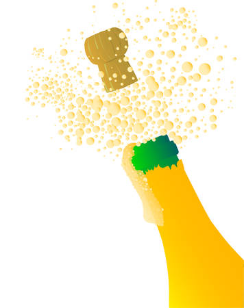 Champagne fles wordt geopend met schuim en bubbels op een witte achtergrond