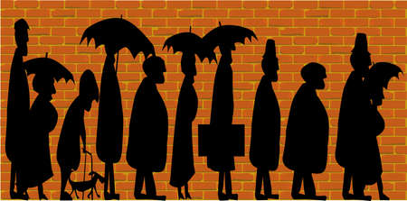 queuing: Silhouette of older people standing in line  Illustration