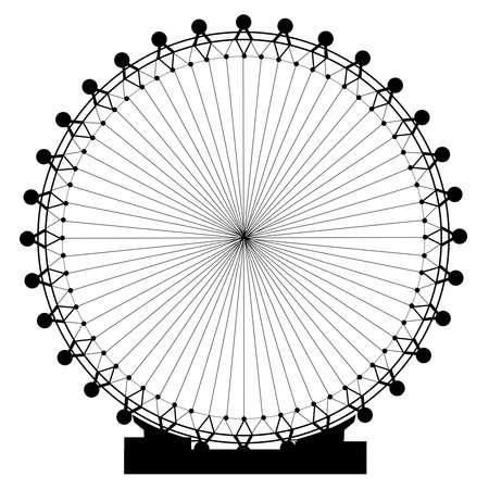 A giant fairground big wheel isolated on white  Illustration