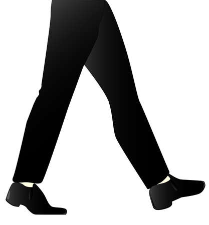striding: A mans leg marching isolated on white  Illustration