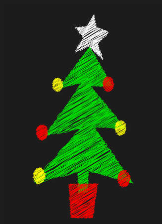 A Christmas tree drawn on a blackboard Vector