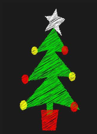 A Christmas tree drawn on a blackboard Stock Vector - 23180029
