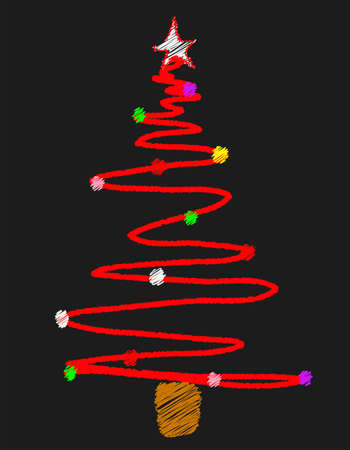 A school blackboard with a bright chalk drawn christmas tree Vector