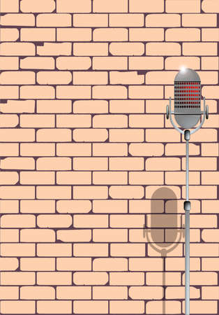 A microphone ready on stage against a brick wall ready for the Karaoke performer  Vector