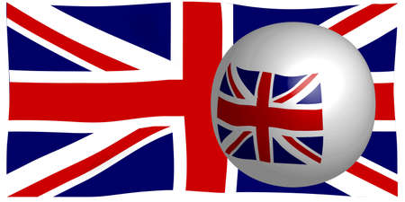 The British Union Flag, or Union Jack when used on board ship, isolated on white and reflected into a sphere Stock Vector - 23180114