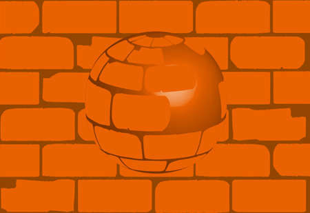 cemented: A sphere created from old house bricks set against a brick wall