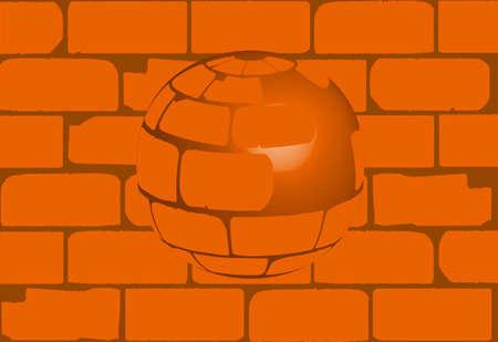 cemented: Una esfera creada a partir de ladrillos de las casas antiguas en contraste con un muro de ladrillo Vectores