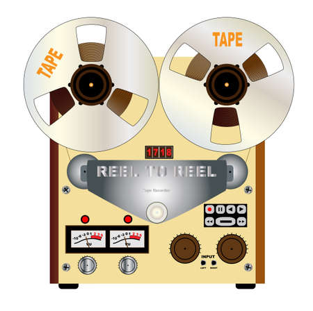 A typical reel to reel quarter inch stereo master tape recorder