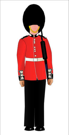 sentry: A British soldier on duty outside the royal palace Illustration