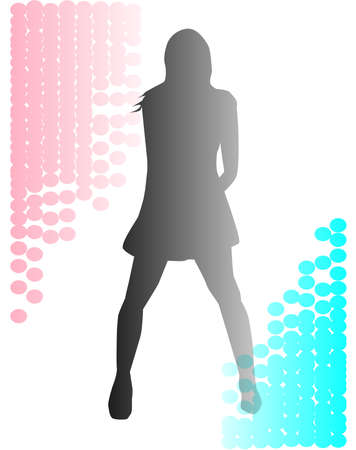 A grungy spotted background with the faded silhouette of a female performer  Illustration