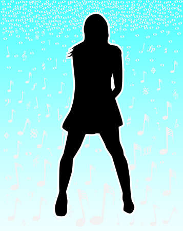 the performer: A musical background with the silhouette of a female performer  Illustration