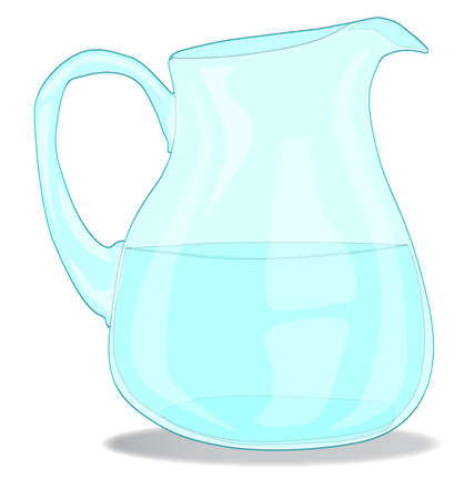 pitcher: A glass Water jug isolated on white