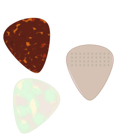 pics: A selection of guitar pics isolated over a white background  Illustration