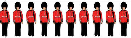guard duty: Los soldados brit�nicos en posici�n de firmes en una delgada l�nea roja Vectores