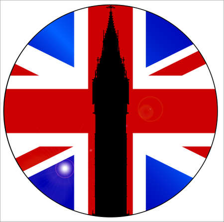 clock tower: The London landmark Big Ben Clock tower in silhouette over a Union Flag on a button or badge  Illustration