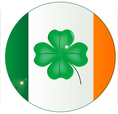 The Flag of Ireland with an added lucky shamrock in the centre on a button Vector