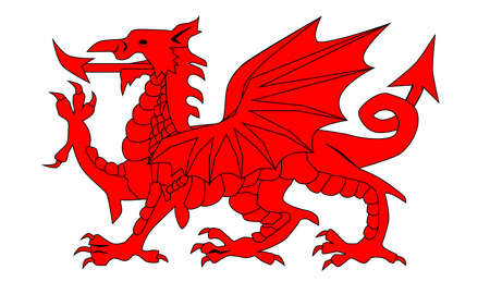 welsh: The Welsh Dragon isolayed over a white background