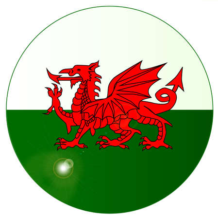 The national dragon flag of Wales as a button or badge Illustration