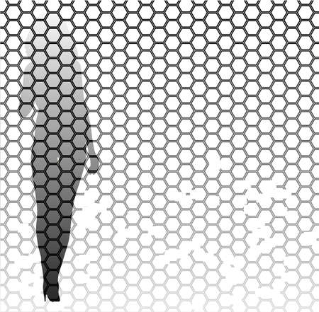 one sided: A honeycomb pattern with a faded grunge effect over a fashion model Illustration