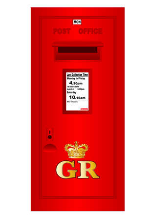 reign: Tradition British  Georges Reign Postbox isolated on white  Illustration