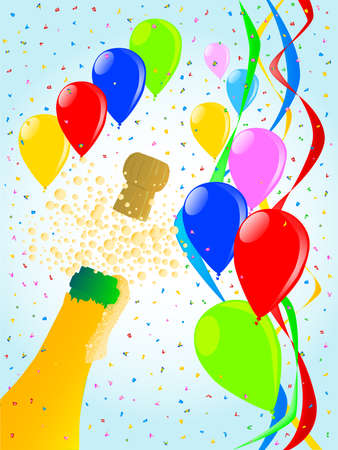 Multi coloured balloons, confetti and streamers, a party image  Vector