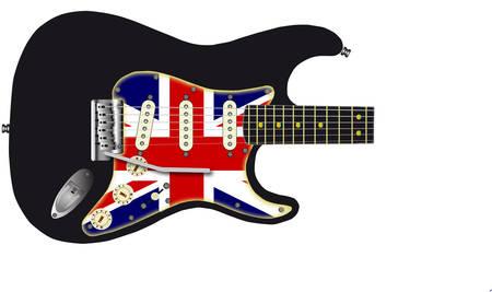 pickups: Una chitarra tradizionale corpo solido elettrica con un battipenna Union Jack