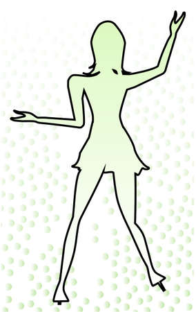 leggy: Outline of a dancing girl with a faded background of green  Illustration