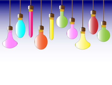 A collection of hanging lightbulbs Stock Vector - 23469183