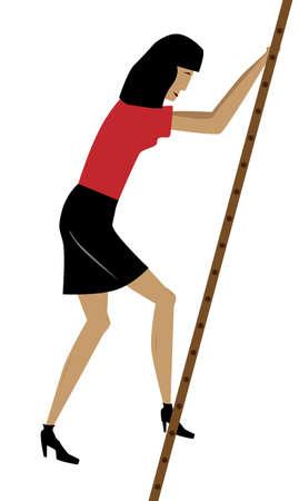 rung: Cartoon of an office worker taking the foirst rung of a ladder