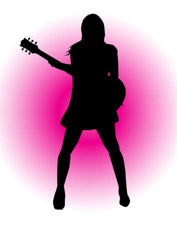 rock guitarist: Silhouette of a female rock guitarist