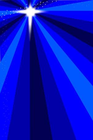 푸른 밤 하늘 배경에 베들레헴의 별 일러스트
