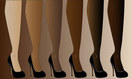 Legs in various skin tones, all wearing stiletto heals  Vector