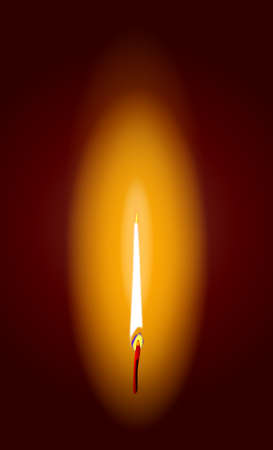 A burning candle flame with a darkened background  Illustration