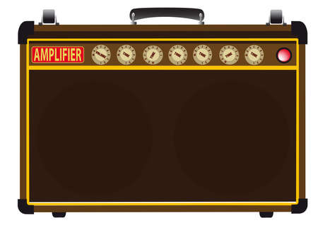 A guitarists valve amplifier isolated over a white background