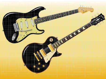 pickups: Il rock and roll chitarre definitive in nero con un effetto graffiato Vettoriali