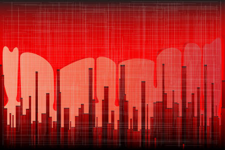 sprawl: A grunge cityscape in blood red with a backdrop of running blood