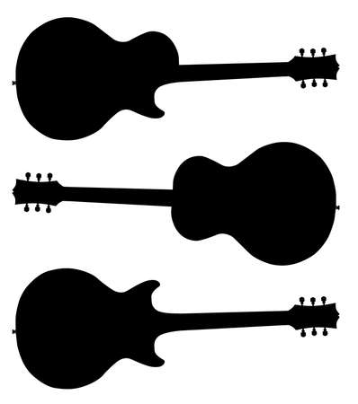 headstock: Traditional guitar shape silhouettes isolated over a white  Illustration