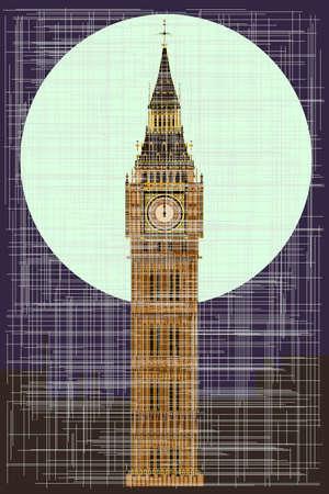bell tower: A grunge version of thehe London landmark Big Ben Clocktower at miidnight by a full moon