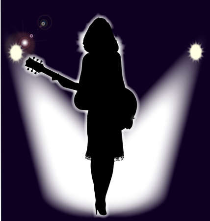Girl Folk SInger on stage in front of the spotlights Vector