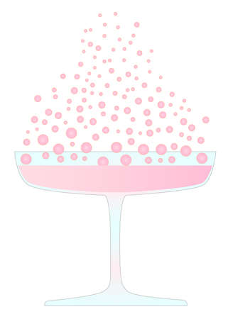 A glass of pink champagne isolated on white  Illustration