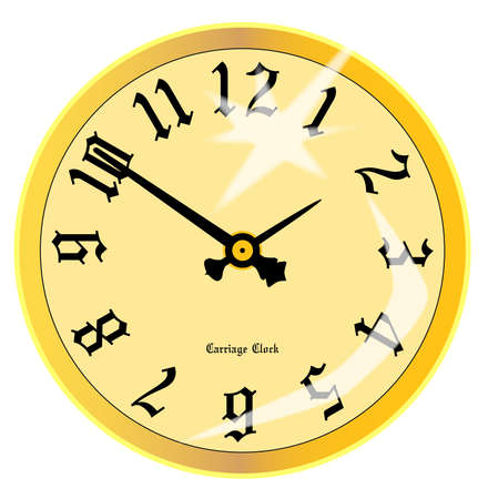 A gold traditional carriage clock face isolated on white Stock Vector - 23651861