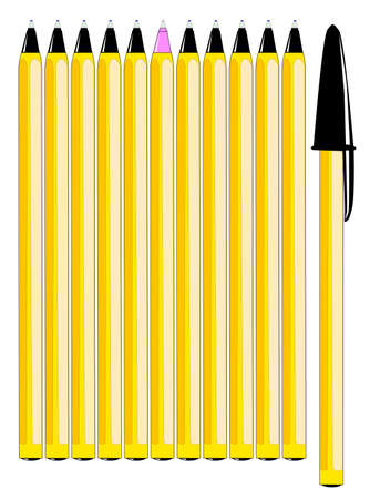 'odd one out': Rows of yellow pens, one in command with black cap and one Odd One Out in pink   Illustration