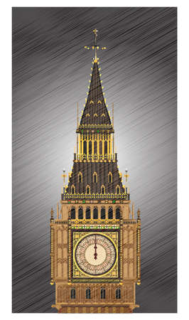 A detailed illustration of the Big Ben clock face striking midnight with weather grunge efect  Illustration