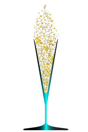 A V shaped glass with champagne bubbles in gold