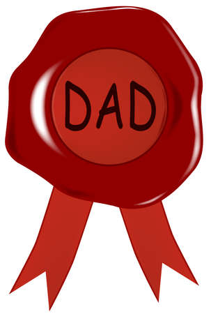 A wax stamp with the word  dad  isolated over a white background  Vector