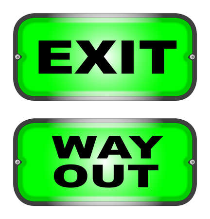 way out: Two warning lights, one  EXIT , the other a  WAY OUT  signal
